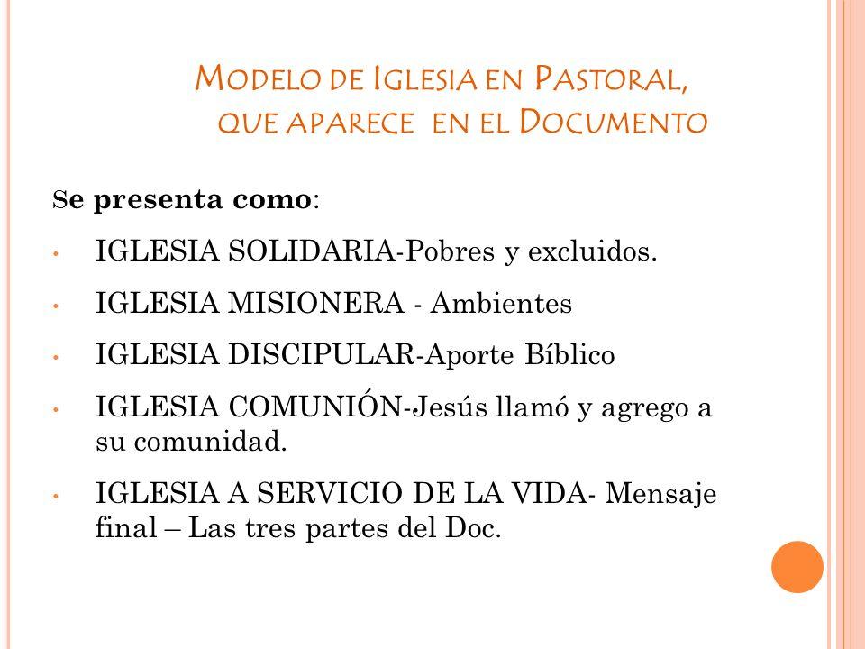 Modelo de Iglesia en Pastoral, que aparece en el Documento