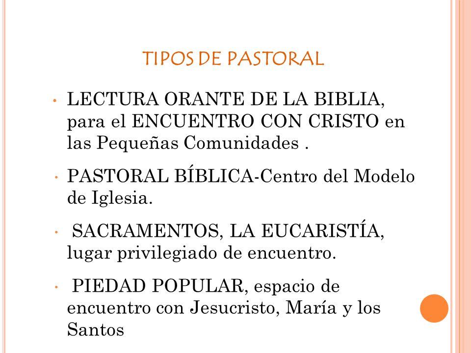 TIPOS DE PASTORAL LECTURA ORANTE DE LA BIBLIA, para el ENCUENTRO CON CRISTO en las Pequeñas Comunidades .
