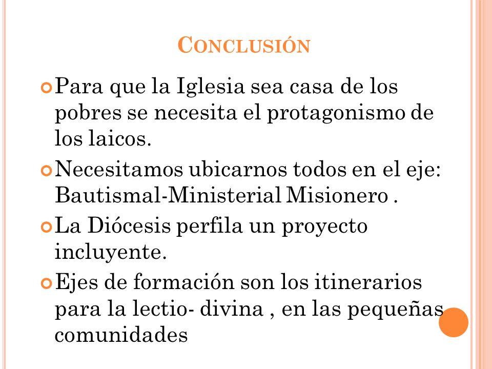 Conclusión Para que la Iglesia sea casa de los pobres se necesita el protagonismo de los laicos.