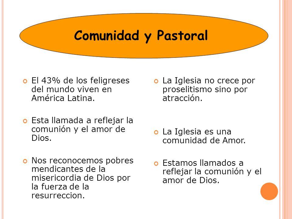 Comunidad y Pastoral El 43% de los feligreses del mundo viven en América Latina. Esta llamada a reflejar la comunión y el amor de Dios.