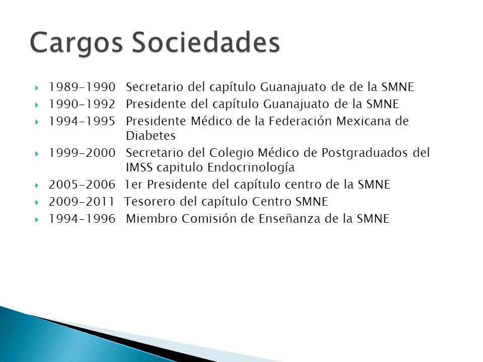 Cargos Sociedades 1989-1990 Secretario del capítulo Guanajuato de de la SMNE. 1990-1992 Presidente del capítulo Guanajuato de la SMNE.