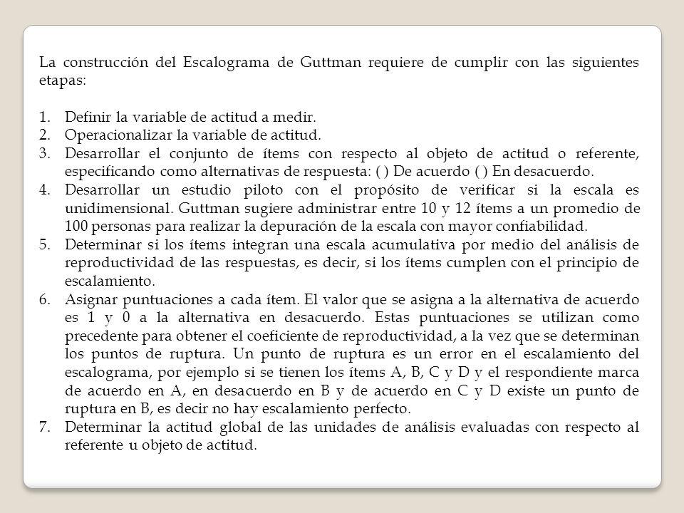 La construcción del Escalograma de Guttman requiere de cumplir con las siguientes etapas: