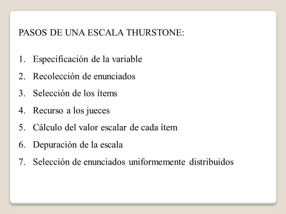 PASOS DE UNA ESCALA THURSTONE: