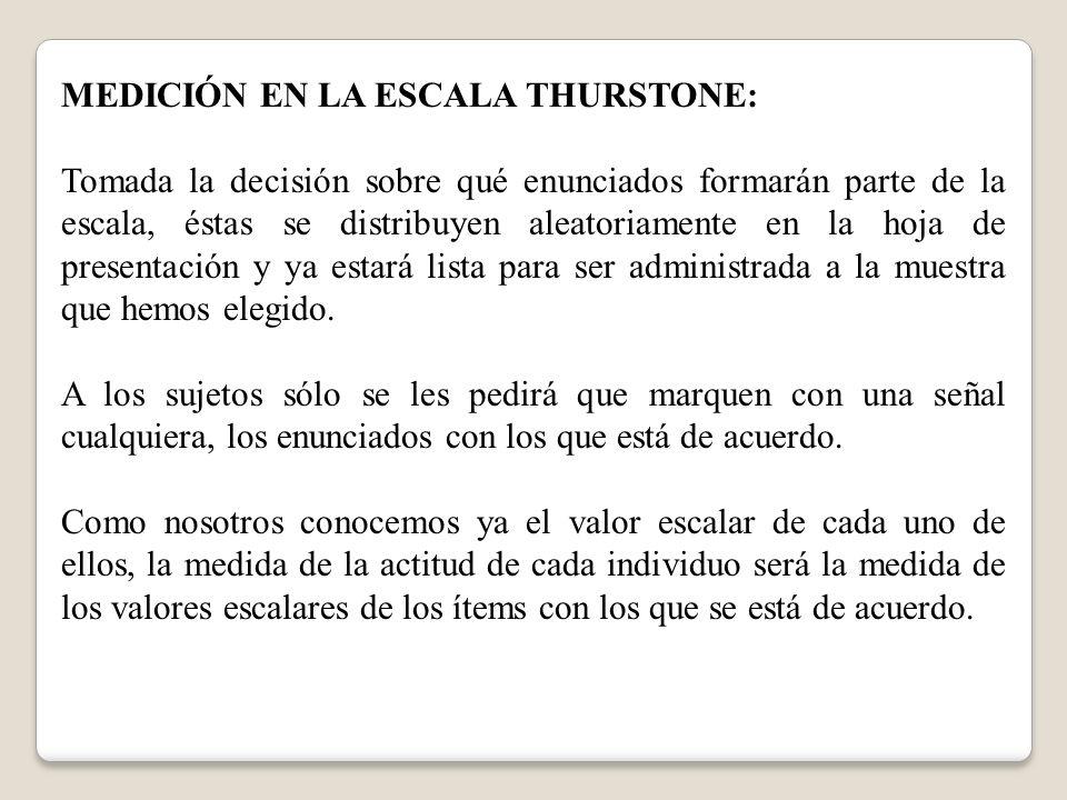 MEDICIÓN EN LA ESCALA THURSTONE: