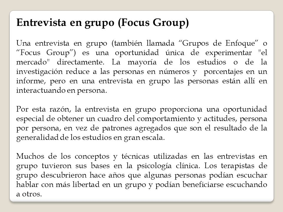 Entrevista en grupo (Focus Group)