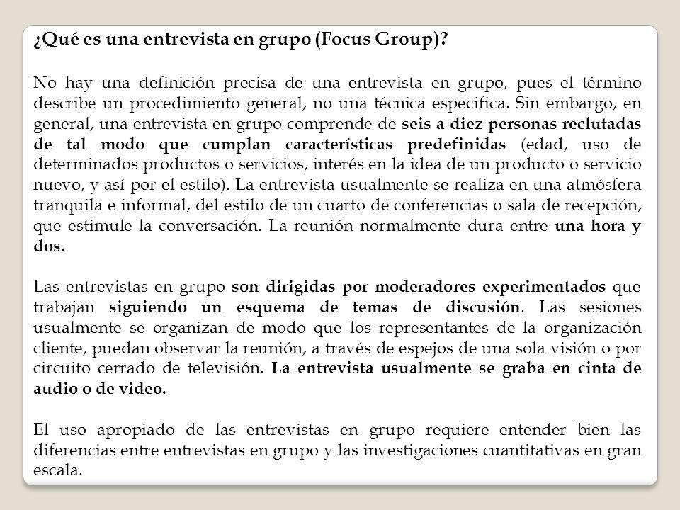 ¿Qué es una entrevista en grupo (Focus Group)