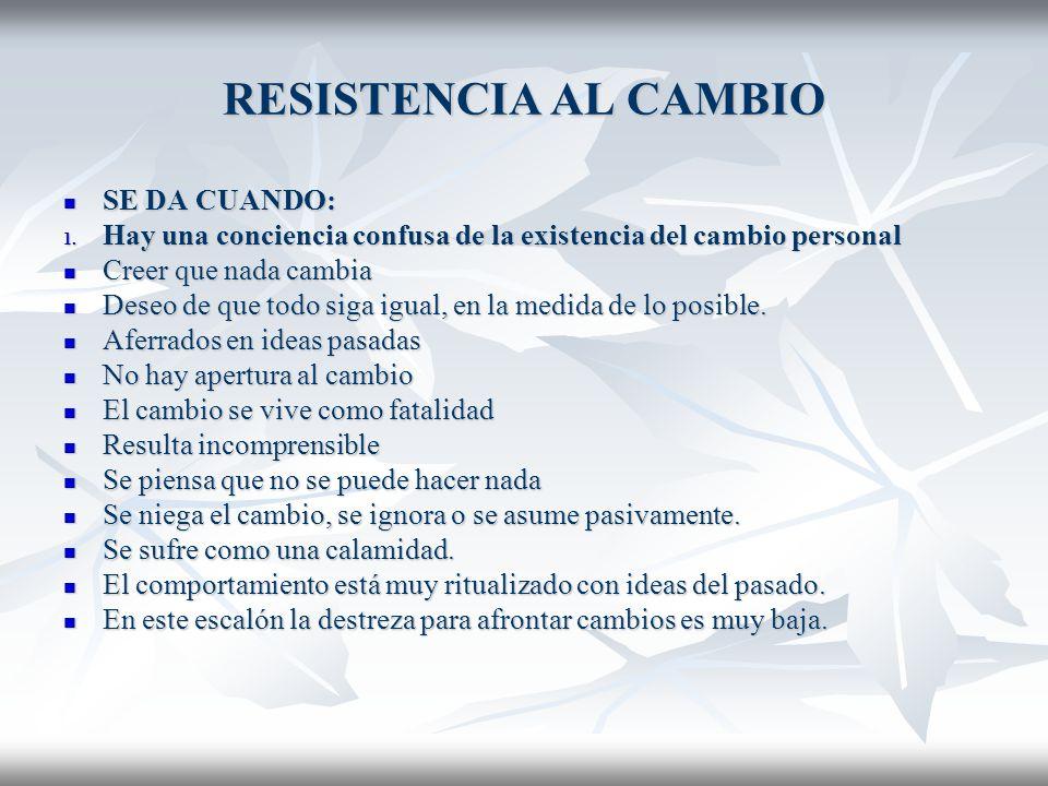 RESISTENCIA AL CAMBIO SE DA CUANDO: