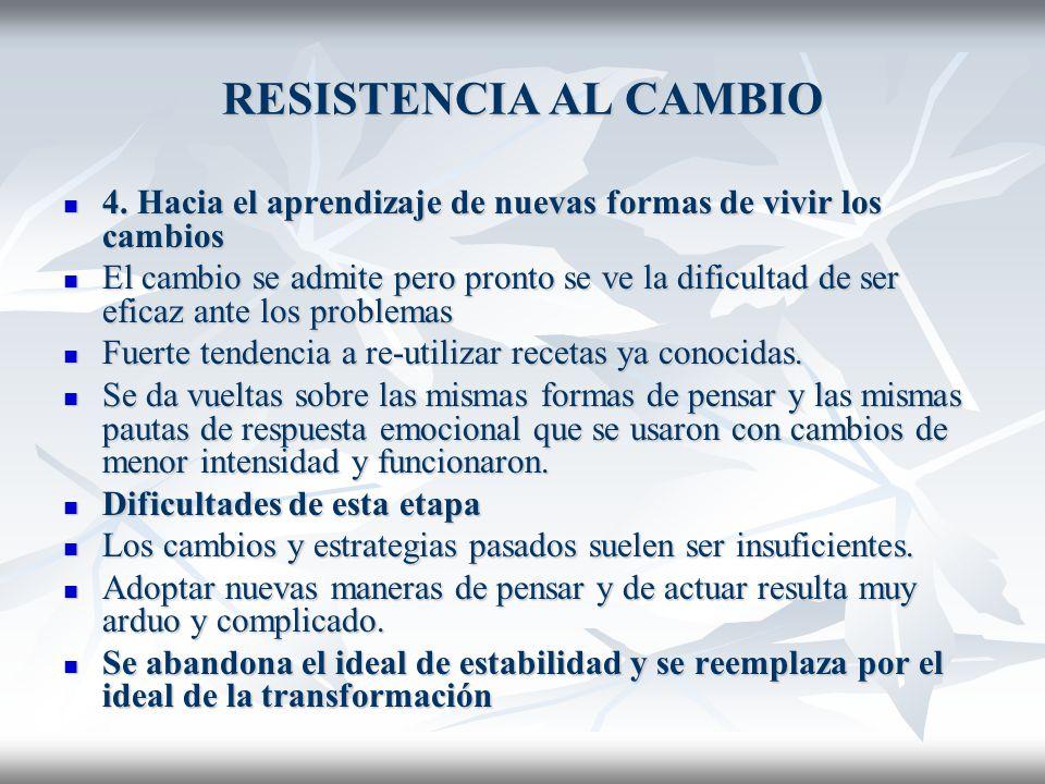 RESISTENCIA AL CAMBIO 4. Hacia el aprendizaje de nuevas formas de vivir los cambios.
