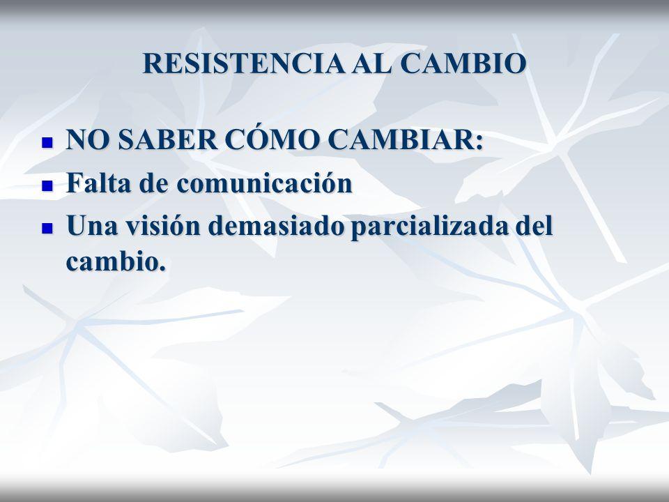 RESISTENCIA AL CAMBIO NO SABER CÓMO CAMBIAR: Falta de comunicación.