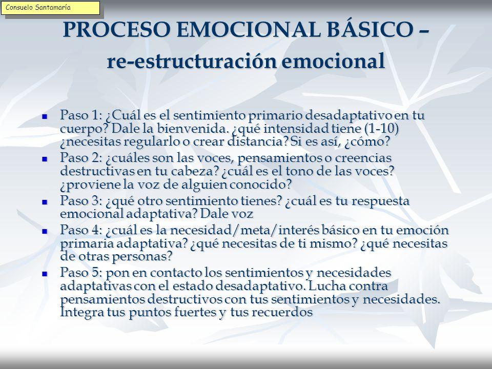 PROCESO EMOCIONAL BÁSICO – re-estructuración emocional