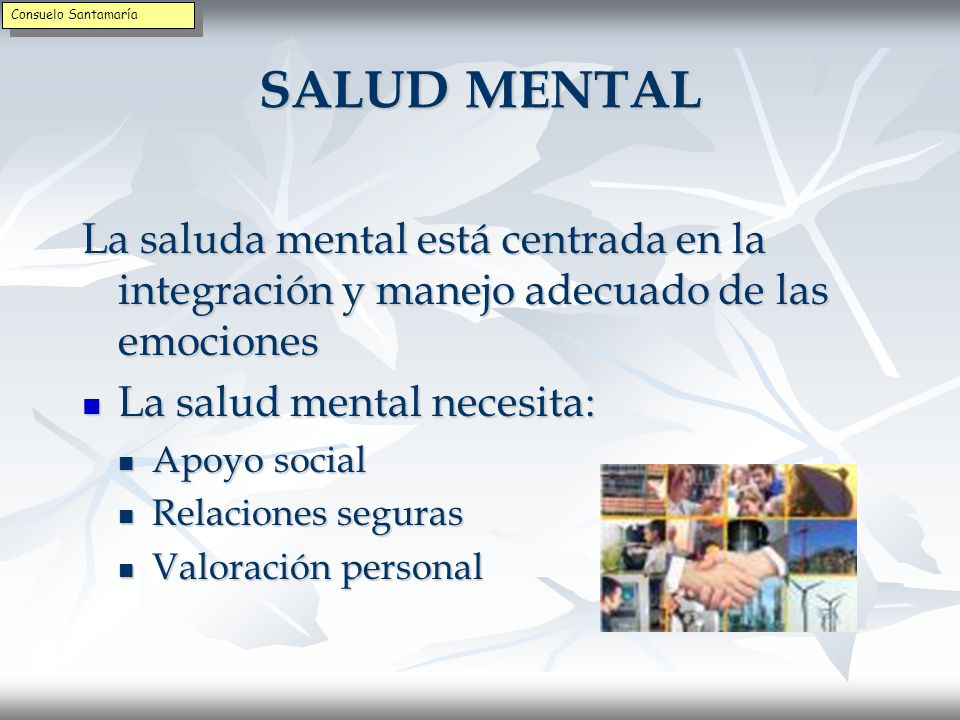 Consuelo Santamaría SALUD MENTAL. La saluda mental está centrada en la integración y manejo adecuado de las emociones.