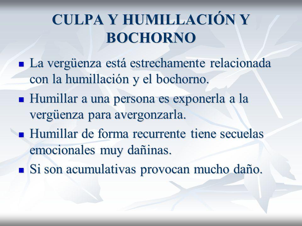 CULPA Y HUMILLACIÓN Y BOCHORNO