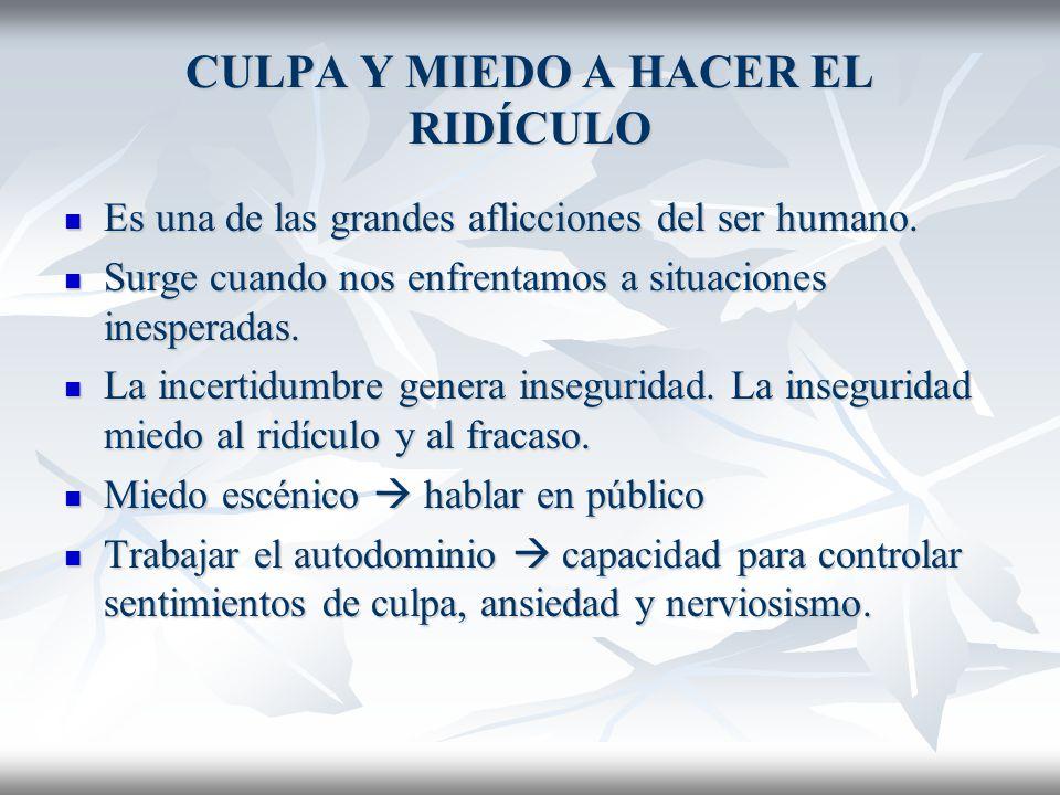 CULPA Y MIEDO A HACER EL RIDÍCULO