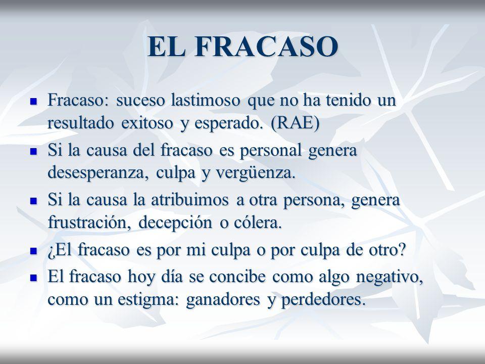EL FRACASO Fracaso: suceso lastimoso que no ha tenido un resultado exitoso y esperado. (RAE)