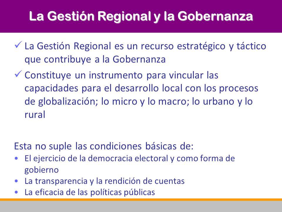La Gestión Regional y la Gobernanza