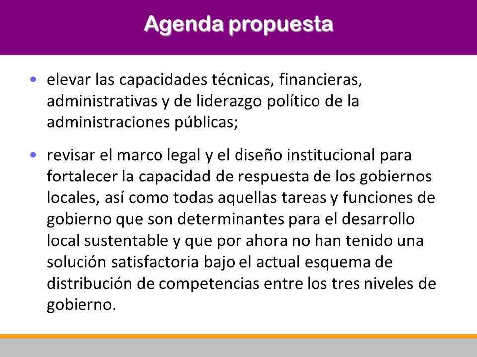 Agenda propuesta elevar las capacidades técnicas, financieras, administrativas y de liderazgo político de la administraciones públicas;