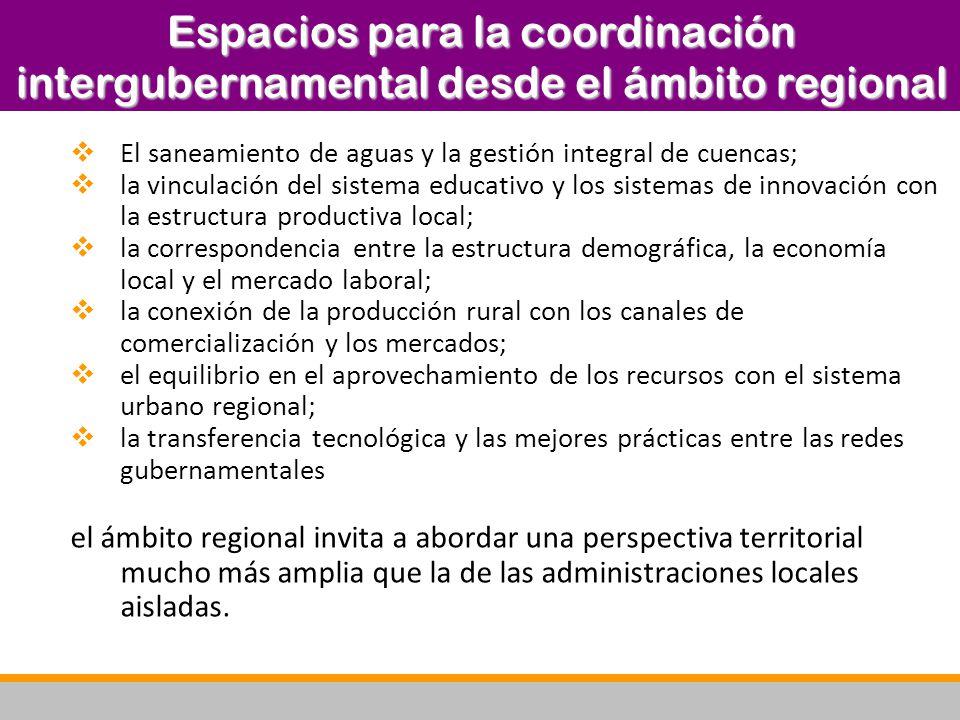 Espacios para la coordinación intergubernamental desde el ámbito regional