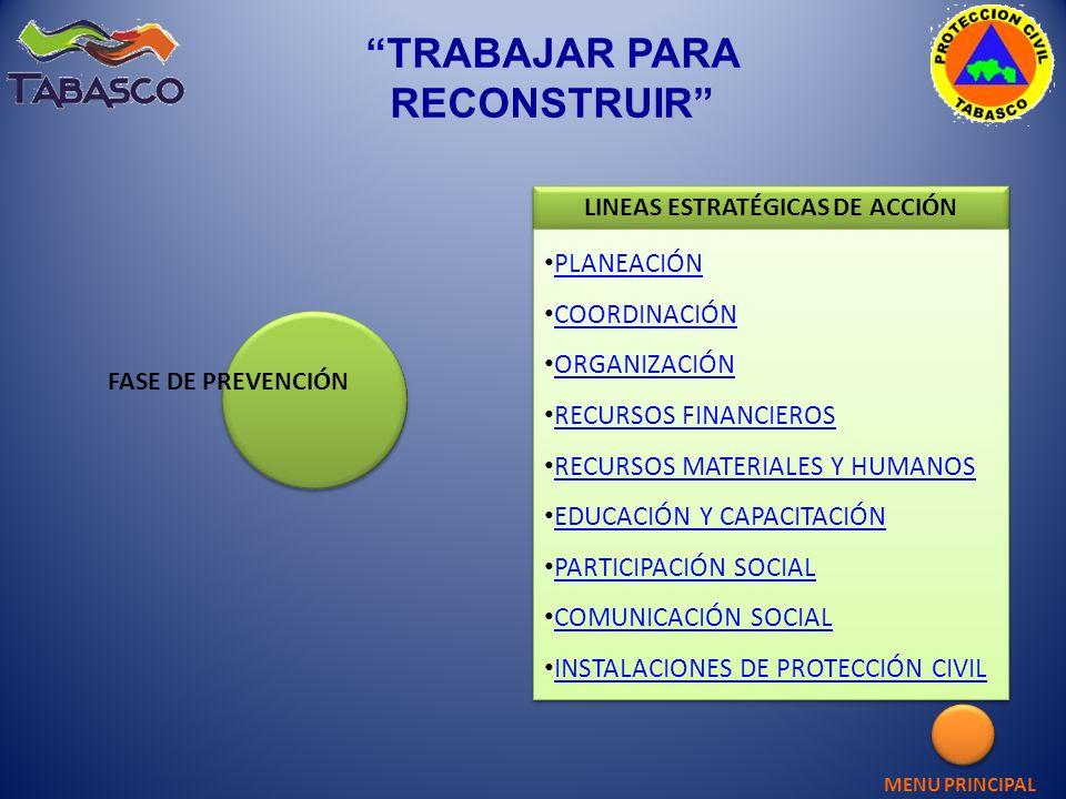 TRABAJAR PARA RECONSTRUIR LINEAS ESTRATÉGICAS DE ACCIÓN