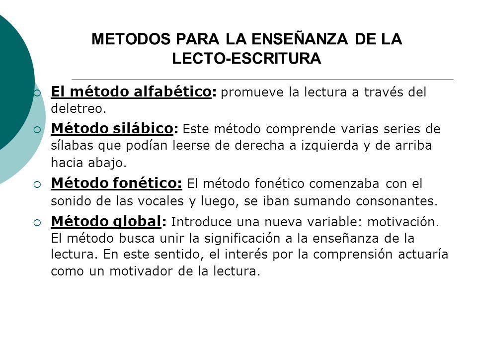 METODOS PARA LA ENSEÑANZA DE LA LECTO-ESCRITURA