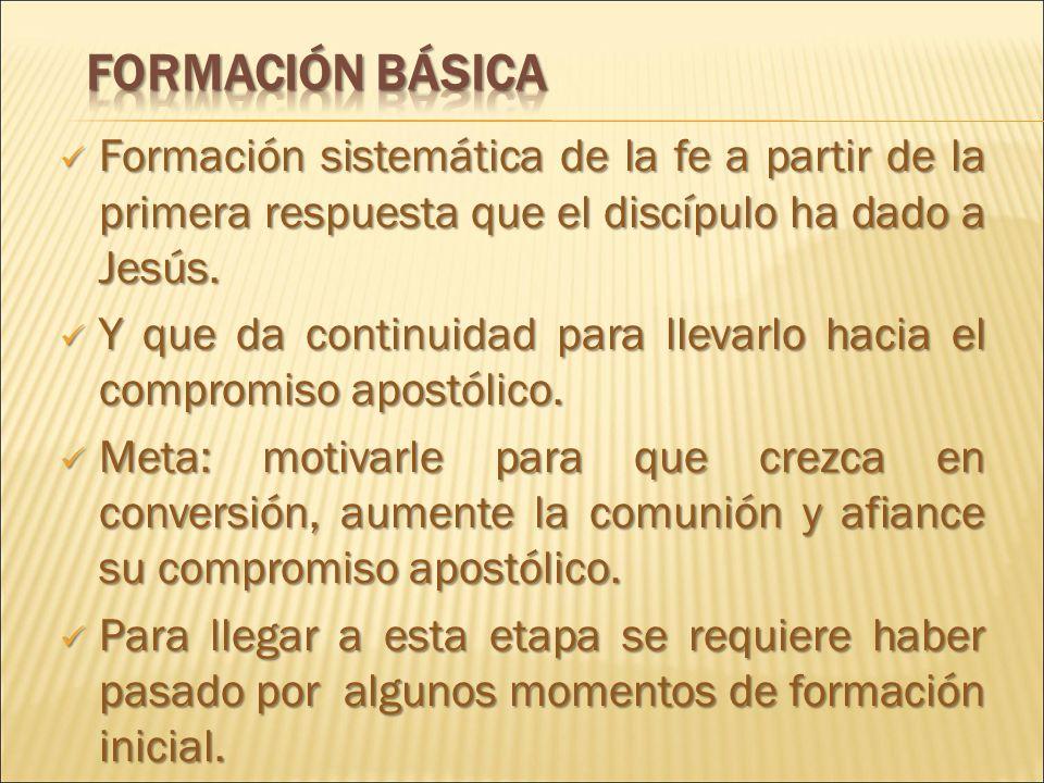 FORMACIÓN BÁSICA Formación sistemática de la fe a partir de la primera respuesta que el discípulo ha dado a Jesús.