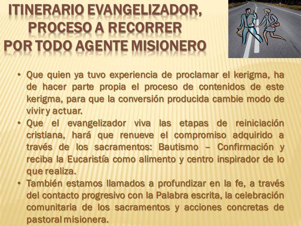 ITINERARIO EVANGELIZADOR, PROCESO A RECORRER POR TODO AGENTE MISIONERO