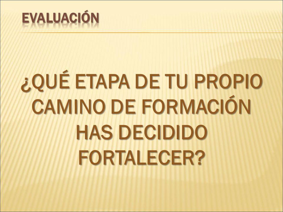 ¿QUÉ ETAPA DE TU PROPIO CAMINO DE FORMACIÓN HAS DECIDIDO FORTALECER