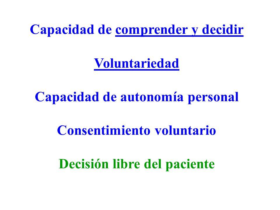 Capacidad de comprender y decidir Capacidad de autonomía personal