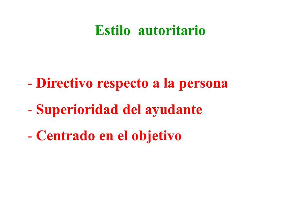 Estilo autoritario Directivo respecto a la persona.