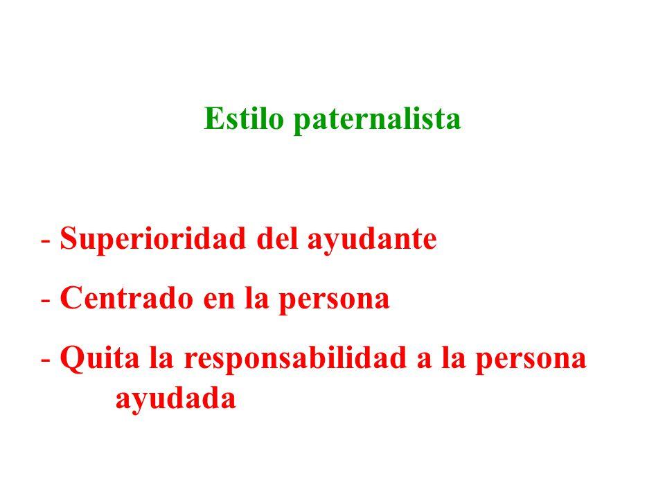 Estilo paternalista Superioridad del ayudante. Centrado en la persona.