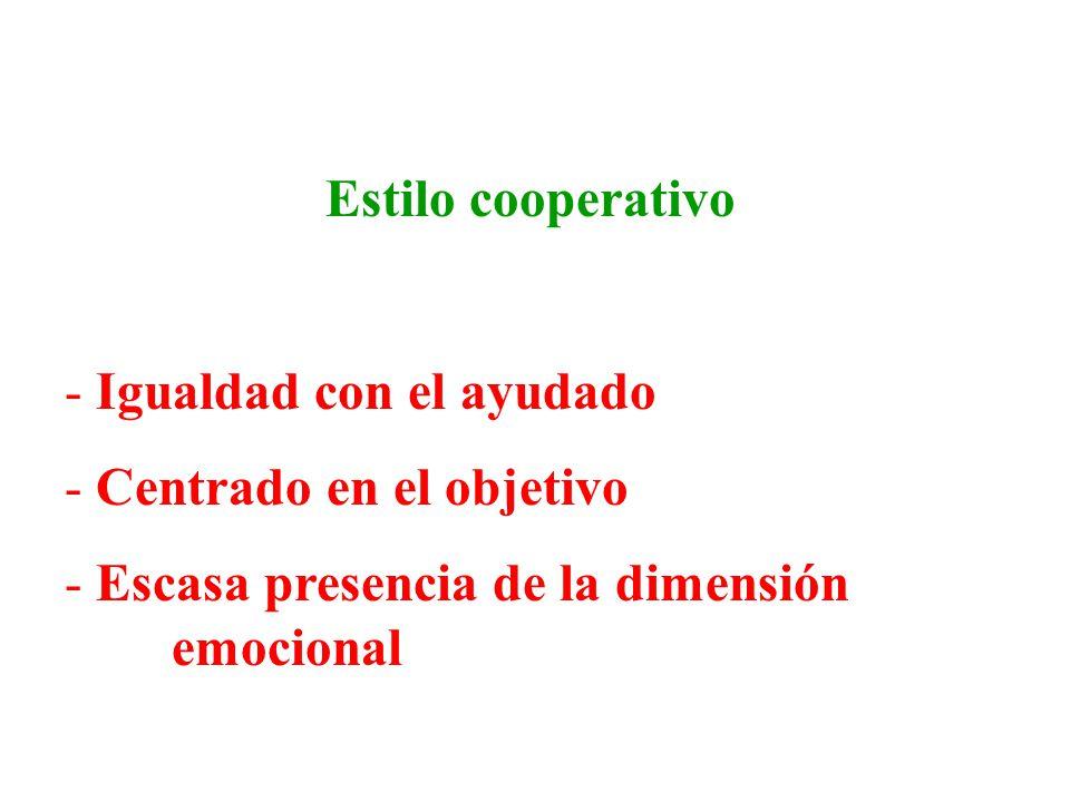 Estilo cooperativo Igualdad con el ayudado. Centrado en el objetivo.