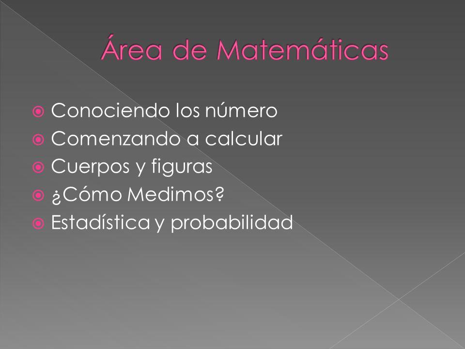 Área de Matemáticas Conociendo los número Comenzando a calcular