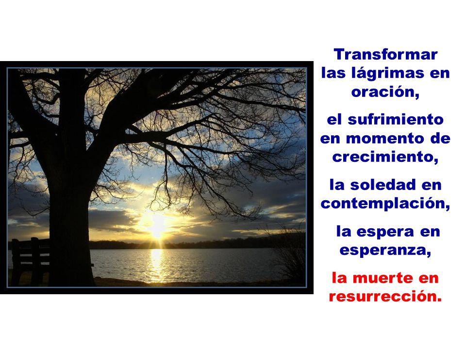 Transformar las lágrimas en oración,
