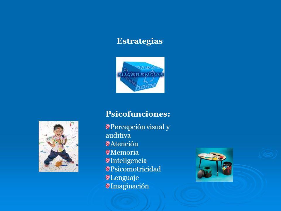 Estrategias Psicofunciones: Percepción visual y auditiva Atención