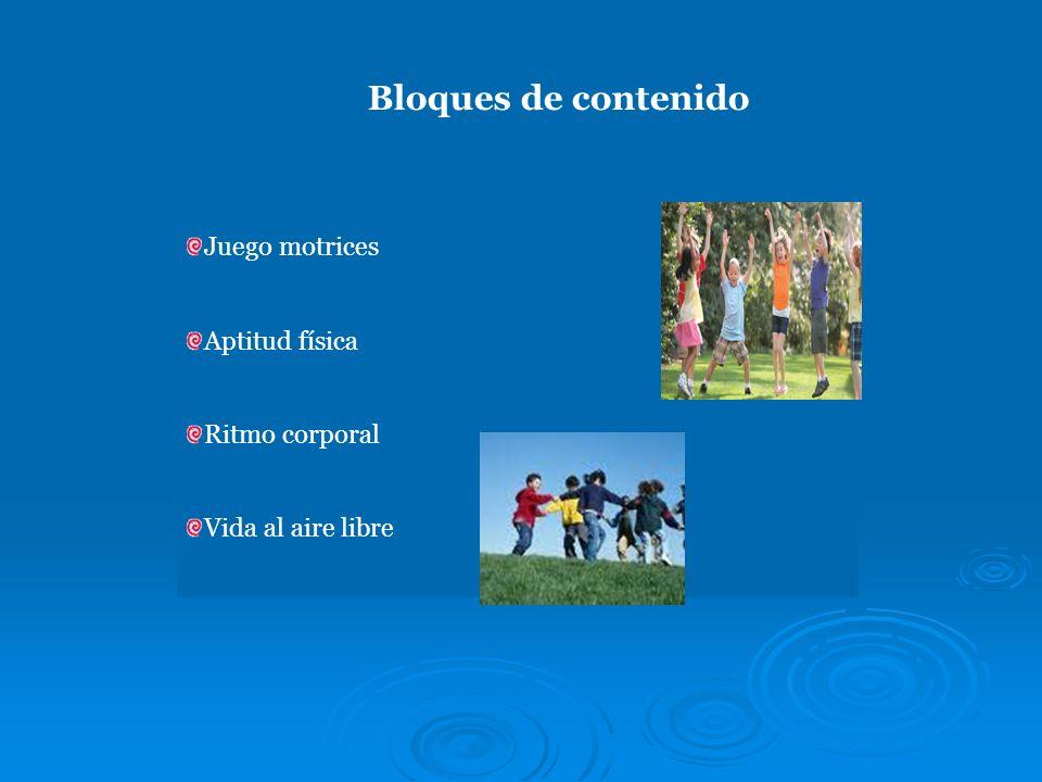 Bloques de contenido Juego motrices Aptitud física Ritmo corporal