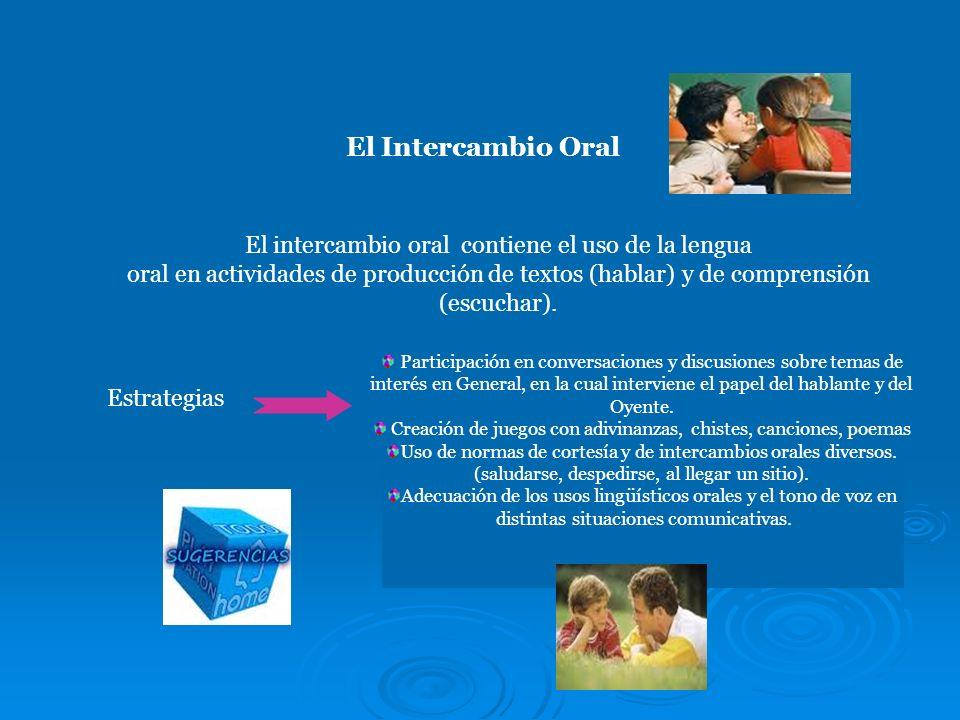 El Intercambio Oral El intercambio oral contiene el uso de la lengua