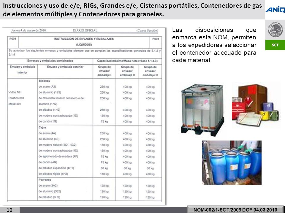 Instrucciones y uso de e/e, RIGs, Grandes e/e, Cisternas portátiles, Contenedores de gas de elementos múltiples y Contenedores para graneles.