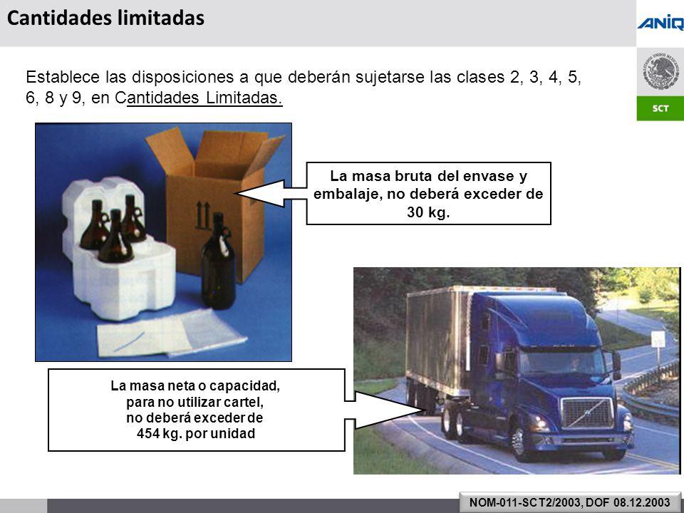 Cantidades limitadas Establece las disposiciones a que deberán sujetarse las clases 2, 3, 4, 5, 6, 8 y 9, en Cantidades Limitadas.