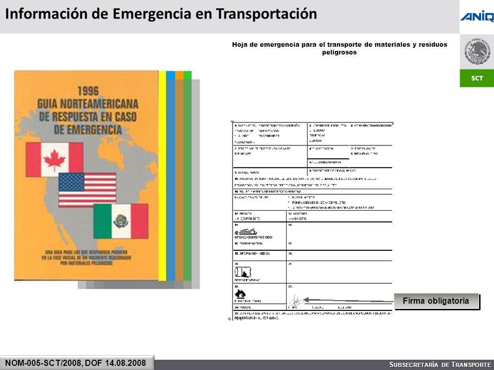 Información de Emergencia en Transportación