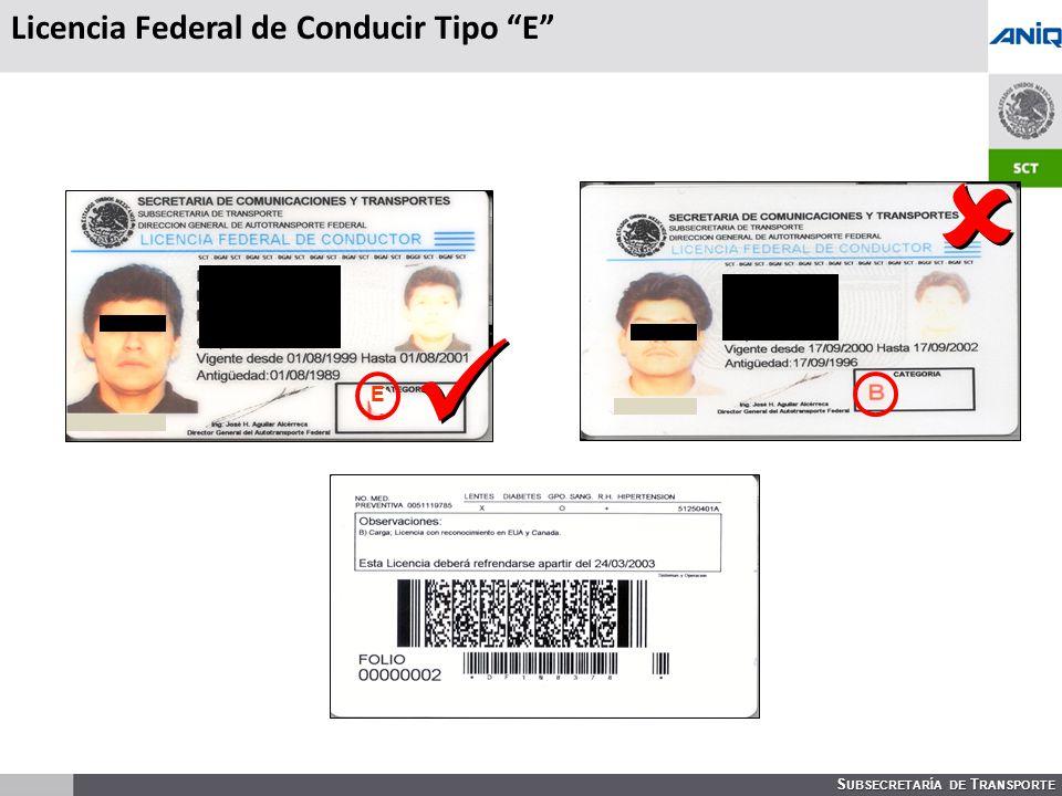Licencia Federal de Conducir Tipo E