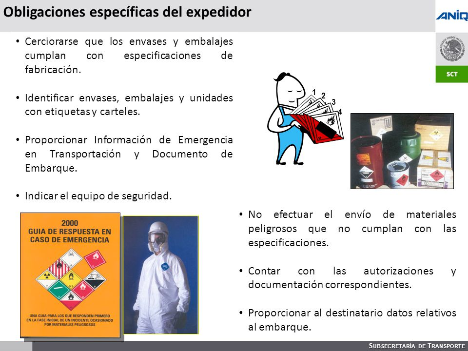 Obligaciones específicas del expedidor