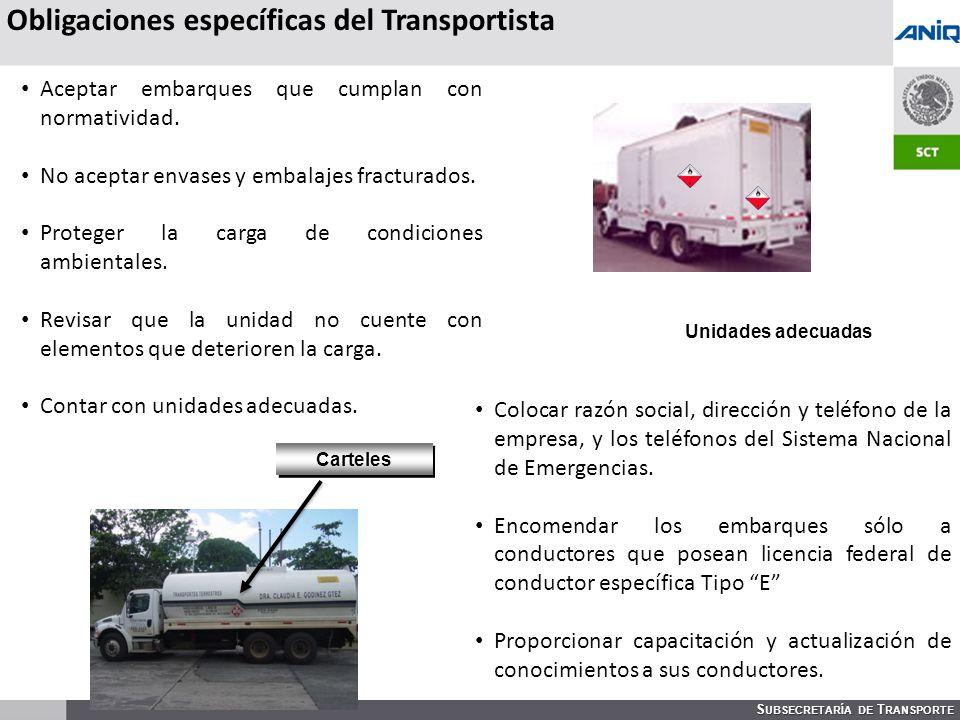 Obligaciones específicas del Transportista