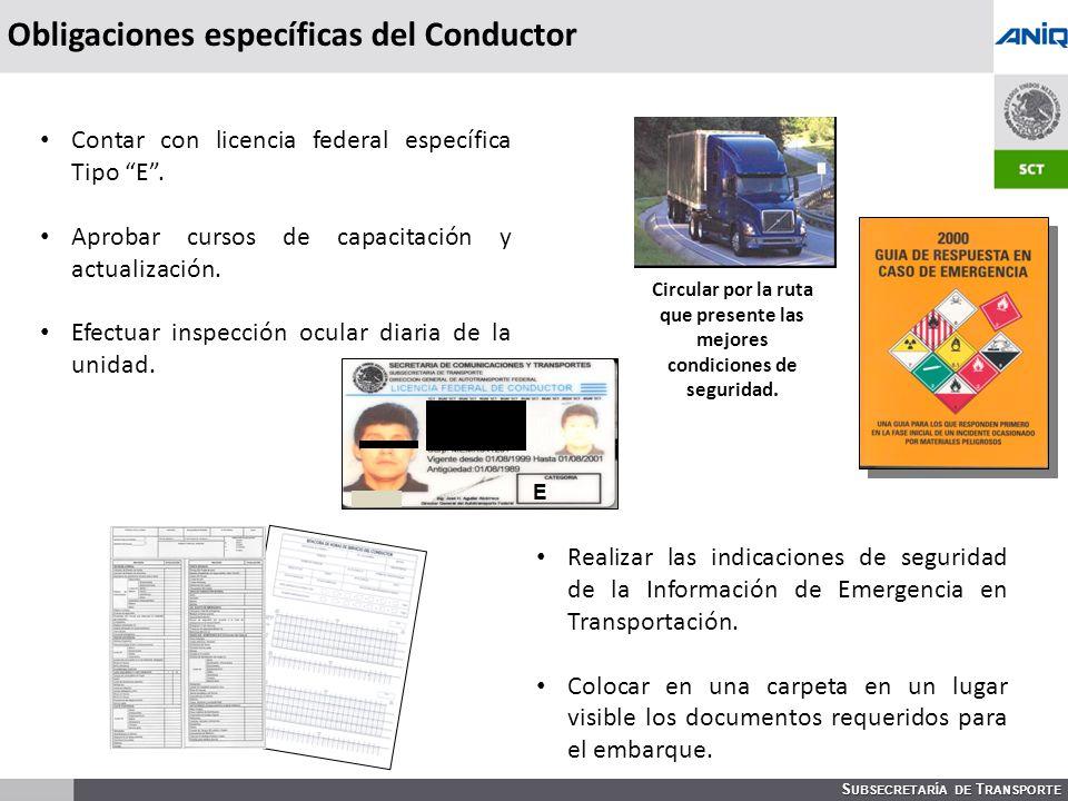 Obligaciones específicas del Conductor