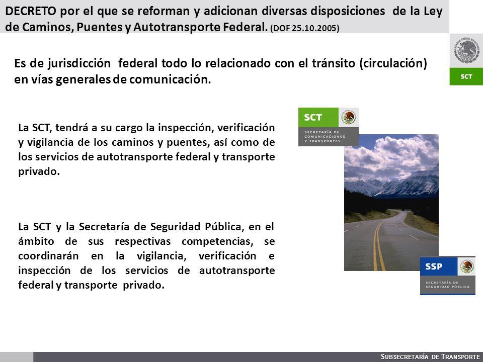 DECRETO por el que se reforman y adicionan diversas disposiciones de la Ley de Caminos, Puentes y Autotransporte Federal. (DOF 25.10.2005)