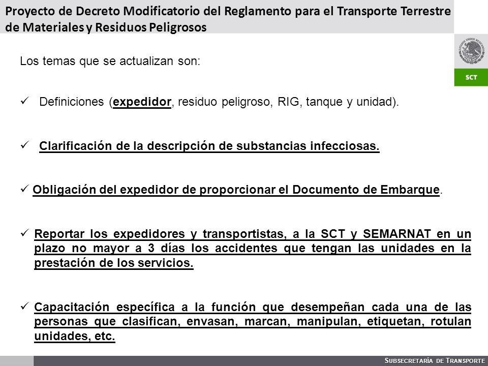 Proyecto de Decreto Modificatorio del Reglamento para el Transporte Terrestre de Materiales y Residuos Peligrosos