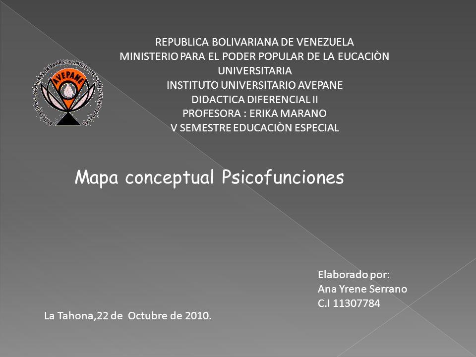Mapa conceptual Psicofunciones