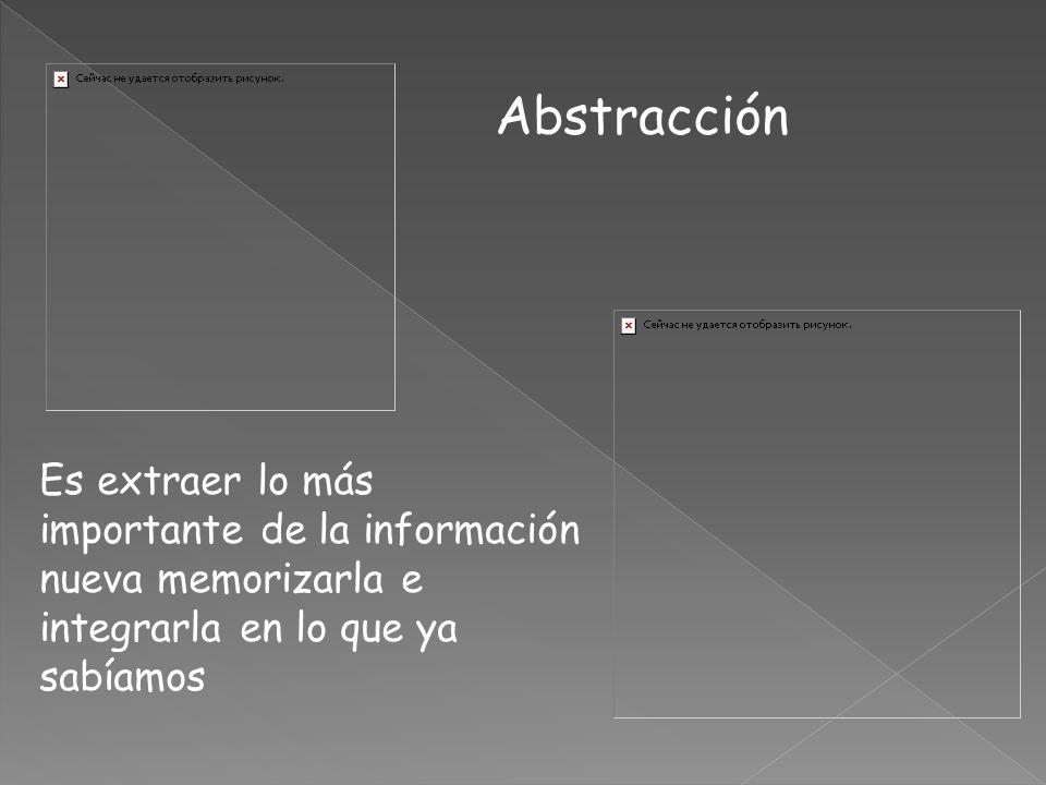 Abstracción Es extraer lo más importante de la información nueva memorizarla e integrarla en lo que ya sabíamos.