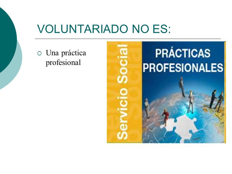 VOLUNTARIADO NO ES: Una práctica profesional