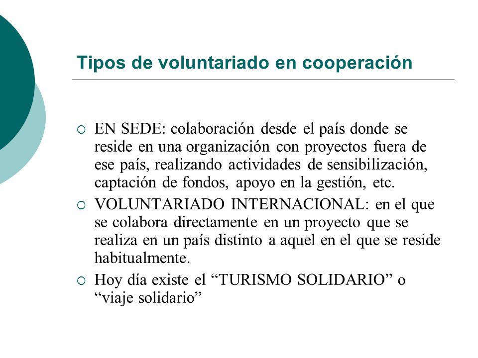 Tipos de voluntariado en cooperación