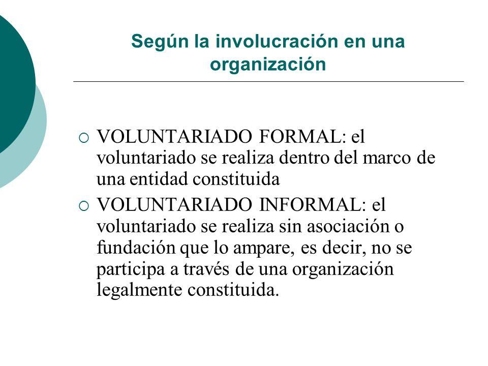 Según la involucración en una organización