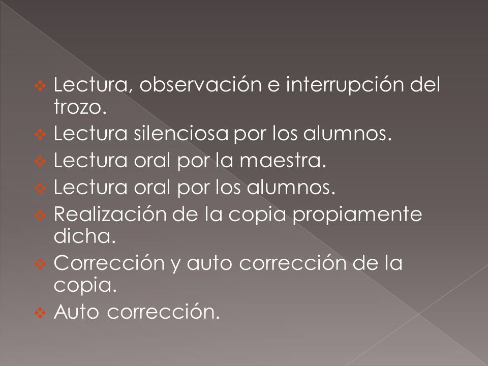 Lectura, observación e interrupción del trozo.